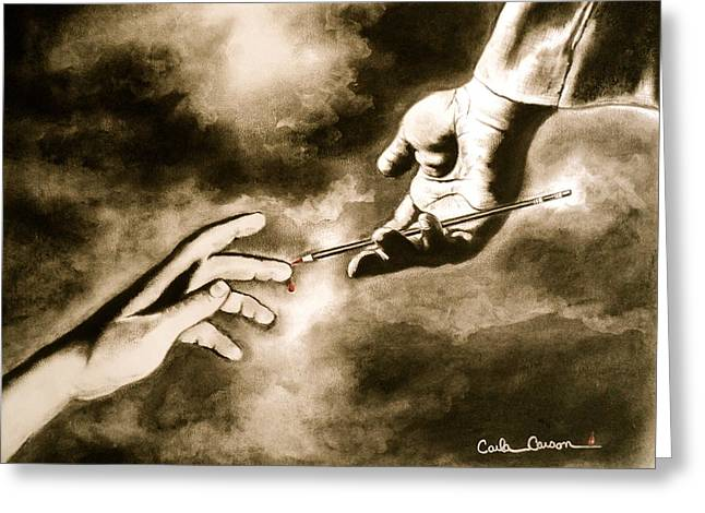 Drop Drawings Greeting Cards - The Hand of God Greeting Card by Carla Carson