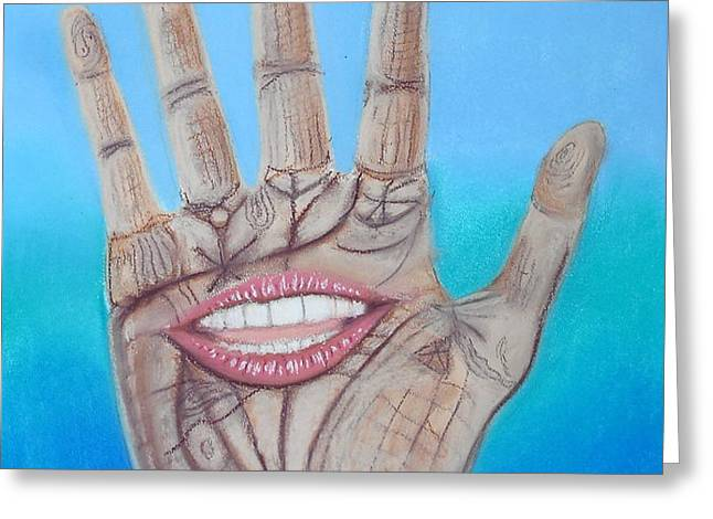 The Hand Speaketh Greeting Card by R Neville Johnston