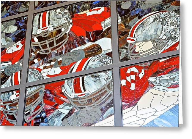 Goal Line Greeting Cards - The Handoff Greeting Card by Frozen in Time Fine Art Photography