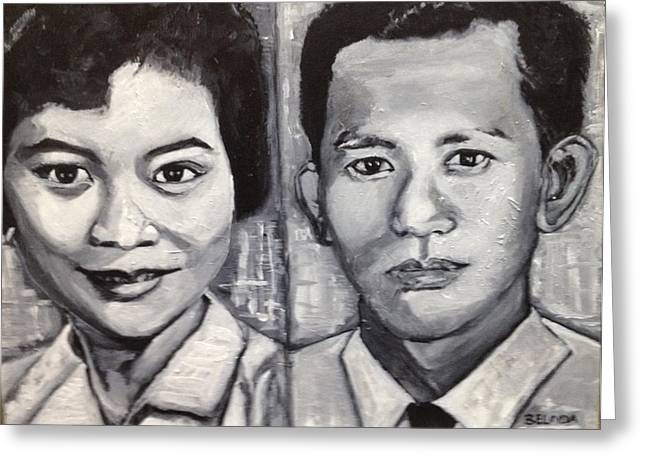Monotone Paintings Greeting Cards - The Handsome Couple Greeting Card by Belinda Low