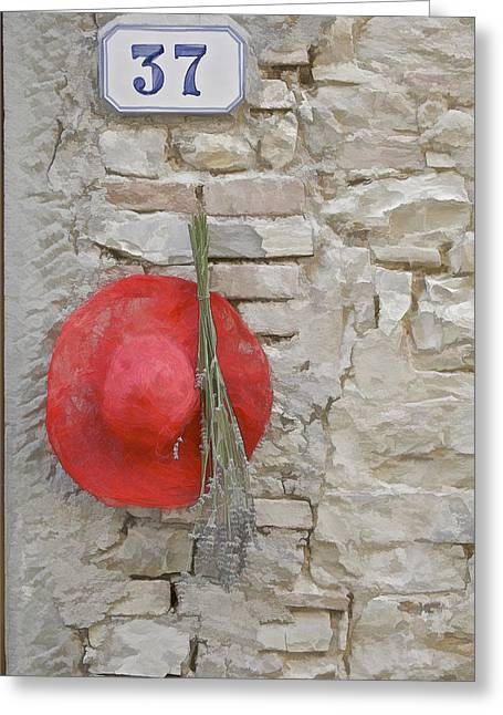 The Hanging Red Hat Greeting Card by David Letts