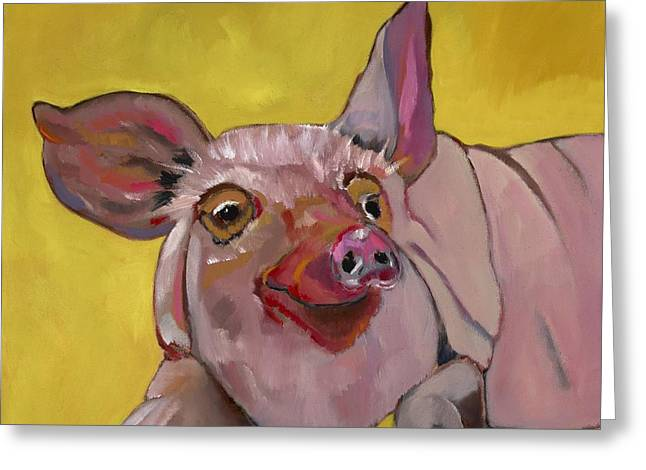 Friendly Hog Greeting Cards - The Happiest Pig in the World Greeting Card by Randine Dodson