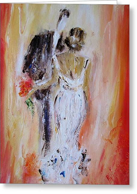 Art For The Dancer Greeting Cards - The Happy Couple Greeting Card by Mary Cahalan Lee