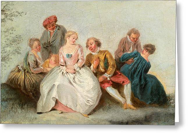 Pater Greeting Cards - The Happy Lovers Greeting Card by Jean-Baptiste Pater