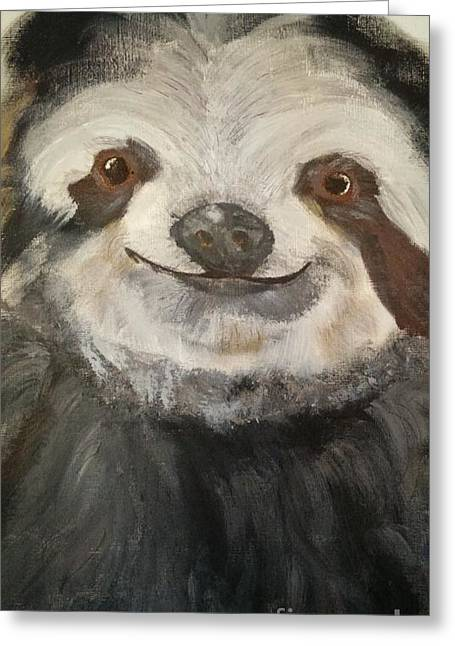 The Happy Sloth Greeting Card by Kelly Williams