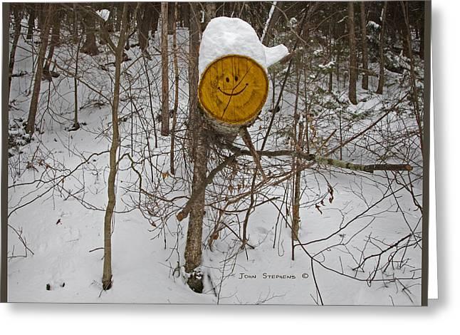Gloomy Winter Greeting Cards - The Happy Woodsman Greeting Card by John Stephens