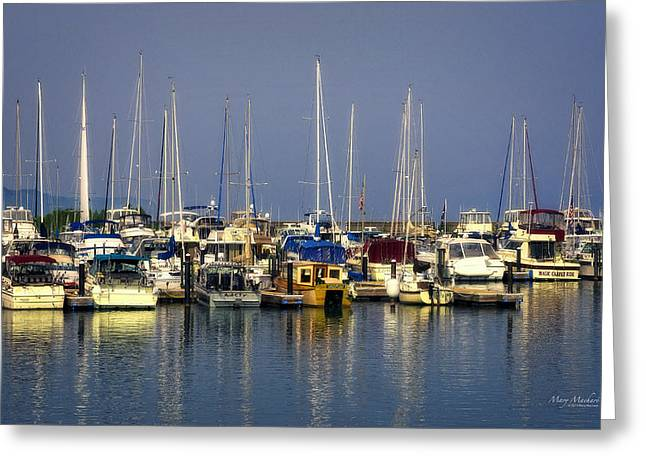 Dark Skies Greeting Cards - The Harbor after the Storm Greeting Card by Mary Machare