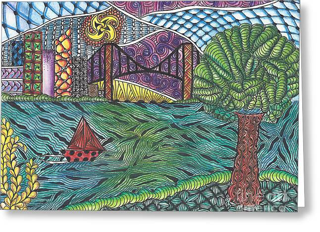 Seacape Drawings Greeting Cards - The Harbor Greeting Card by Dianne Ferrer