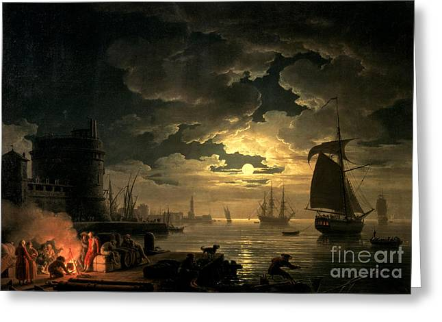 Recently Sold -  - Ocean Sailing Greeting Cards - The Harbor of Palermo Greeting Card by Claude Joseph Vernet