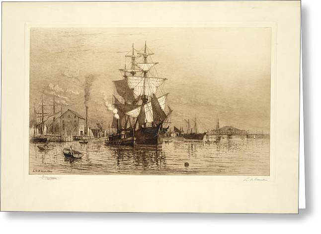Sailing Ship Greeting Cards - The Harbor Ship Greeting Card by Gary Grayson