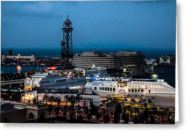 Barceloneta Greeting Cards - The Harbor  Greeting Card by Sotiris Filippou