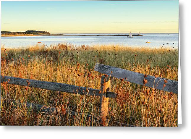 New England Landscape Greeting Cards - The Harbor Square Greeting Card by Bill  Wakeley