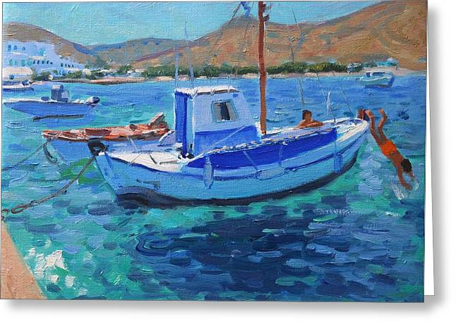 Masts Greeting Cards - The Harbor  Tinos Greeting Card by Andrew Macara