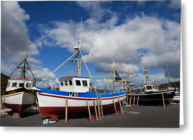 Fishing Boats Greeting Cards - The Harbour And Fishing Boats, Passage Greeting Card by Panoramic Images