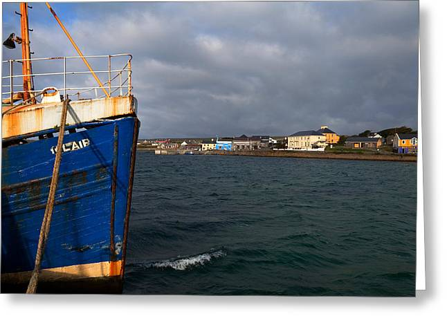 Aran Islands Greeting Cards - The Harbour And Kilronan Village Greeting Card by Panoramic Images