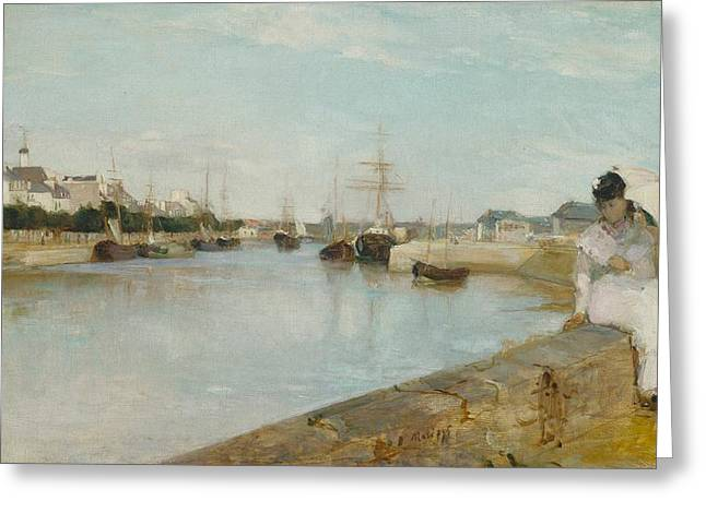 Harbour Wall Greeting Cards - The Harbour at Lorient Greeting Card by Berthe Morisot