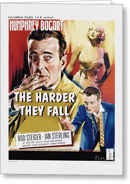 Classic Hollywood Photographs Greeting Cards - The Harder They Fall Movie Poster - Bogart Greeting Card by MMG Archive Prints