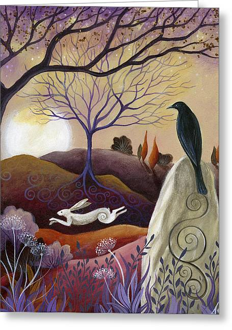 Hare Greeting Cards - The Hare and Crow Greeting Card by Amanda Clark