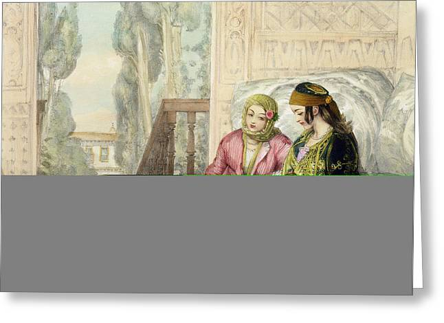 Seraglio Greeting Cards - The Harem, Plate 1 From Illustrations Greeting Card by John Frederick Lewis