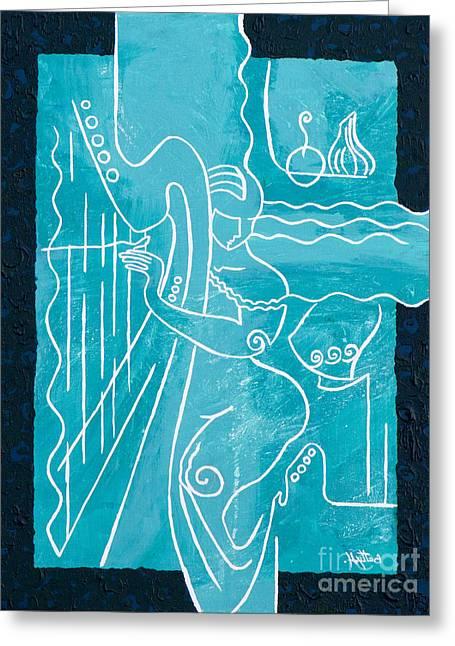 Elisabeta Hermann Greeting Cards - The Harp Player Greeting Card by Elisabeta Hermann
