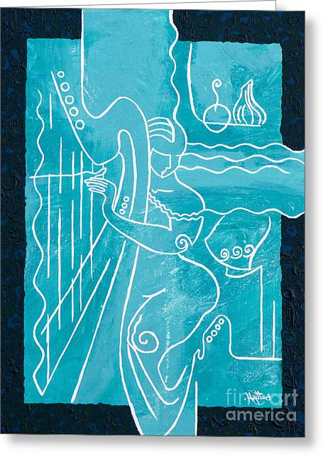 The Harp Player Greeting Card by Elisabeta Hermann