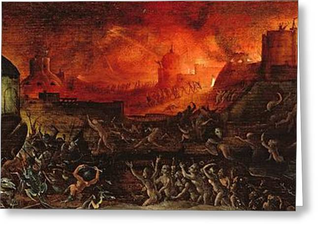 Breaching Greeting Cards - The Harrowing Of Hell Oil On Panel Greeting Card by Herri met de Bles
