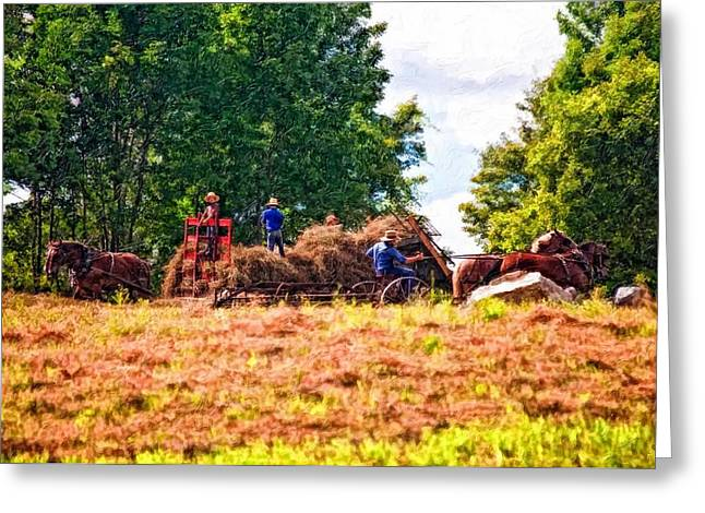 Amish Photographs Greeting Cards - The Harvest impasto Greeting Card by Steve Harrington