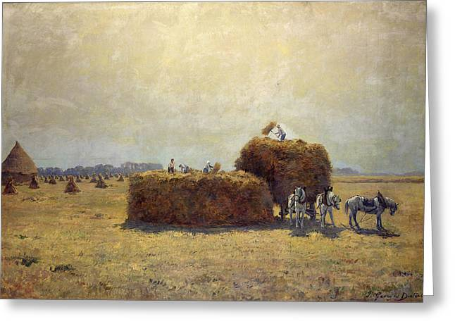 Hay Photographs Greeting Cards - The Harvest Oil On Canvas Greeting Card by Pierre-Georges Dieterle