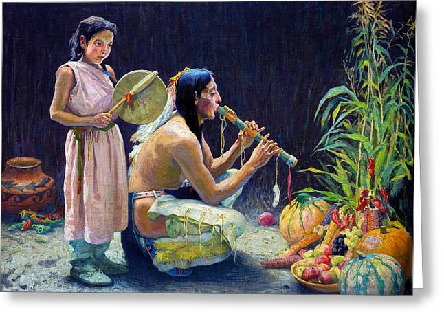 Indian Princess Greeting Cards - The Harvest Song Greeting Card by Eanger Irving Couse