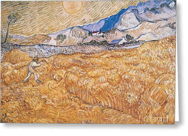 Manual Greeting Cards - The Harvester Greeting Card by Vincent Van Gogh