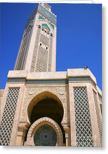Northern Africa Greeting Cards - The Hassan II Mosque Grand Mosque with the Worlds Tallest 210m Minaret Sour Jdid Casablanca Morocco Greeting Card by Ralph A  Ledergerber-Photography