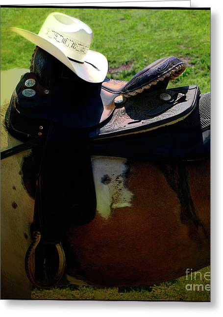 Horseback Riding Digital Art Greeting Cards - The Hat Rack Greeting Card by Steven  Digman