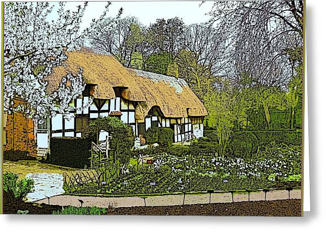 Thatch Digital Greeting Cards - The Hathaway Cottage in April Greeting Card by Mindy Newman