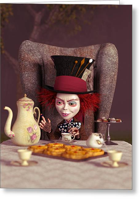 Mad Hatter Digital Art Greeting Cards - The Hatter -  A Mad Tea Party Greeting Card by Liam Liberty