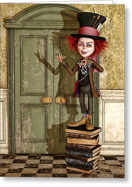 Mad Hatter Greeting Cards - The Hatter - Alice in Wonderland Art Greeting Card by Liam Liberty