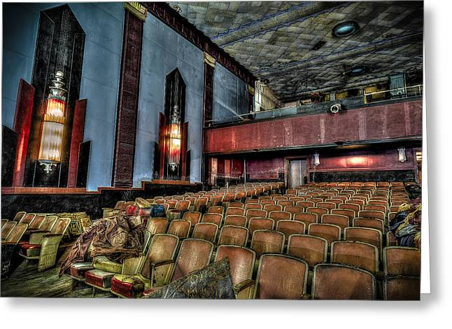 Another Time Greeting Cards - The Haunted Cole Theater Greeting Card by David Morefield