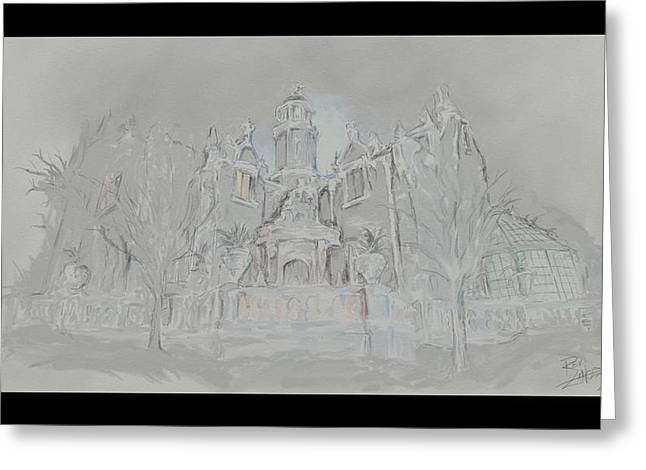 Amusements Drawings Greeting Cards - The Haunted Mansion Greeting Card by Lance Shaffer