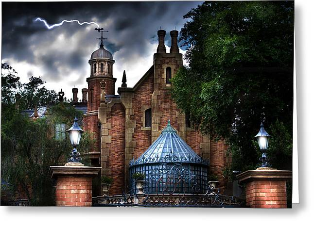 Recently Sold -  - Ghostly Greeting Cards - The Haunted Mansion Greeting Card by Mark Andrew Thomas