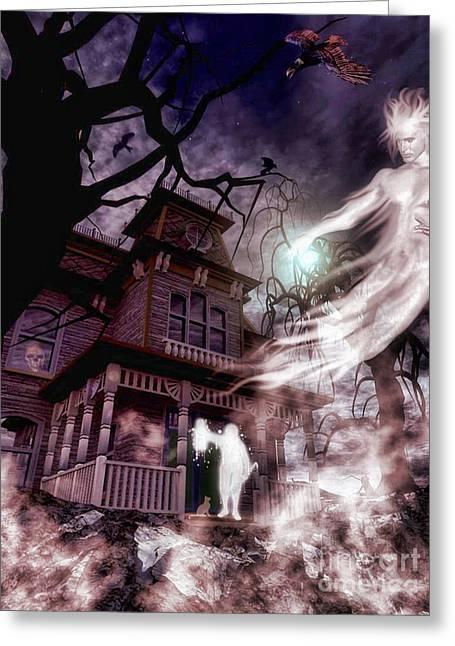 The Haunting Of Blackthorne Manor  Greeting Card by Putterhug  Studio