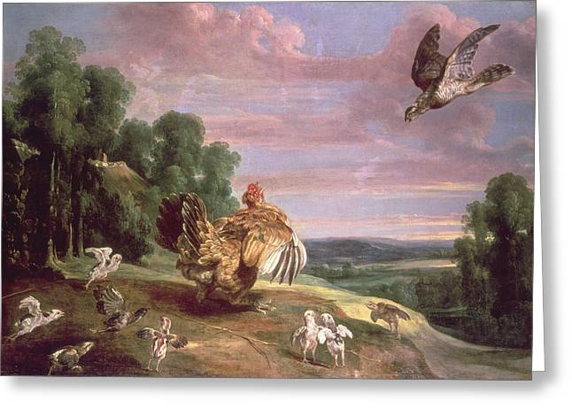 Chickens Greeting Cards - The Hawk And The Hen Greeting Card by Frans Snyders or Snijders