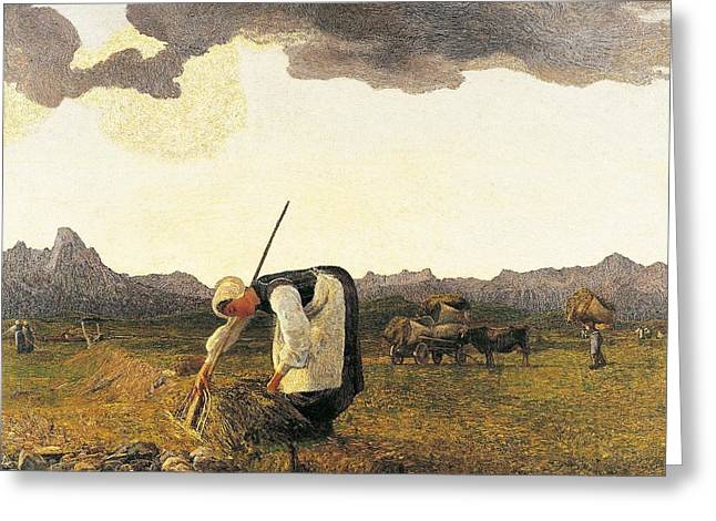 Apron Greeting Cards - The Hay Harvest  Greeting Card by Giovanni Segantini