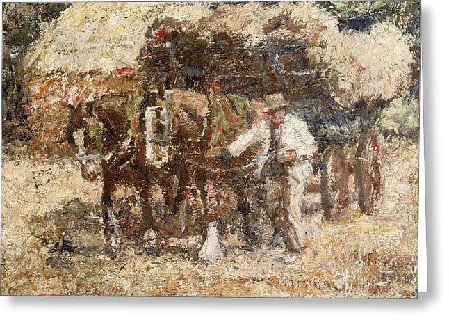 Cart Greeting Cards - The Hay Wagon Greeting Card by Harry Fidler
