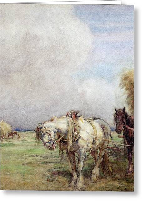 Nathaniel Greeting Cards - The Hay Wagon Greeting Card by Nathaniel Hughes John Baird