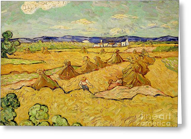 Harvesting Greeting Cards - The Haystacks Greeting Card by Vincent van Gogh