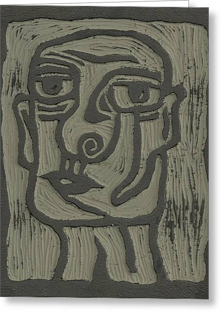 The Head Linoleum Block Carving Greeting Card by Shawn Vincelette