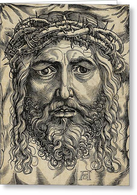 Christ Pyrography Greeting Cards - The Head of Christ Crowned with Thorns Greeting Card by Libellule Gallery