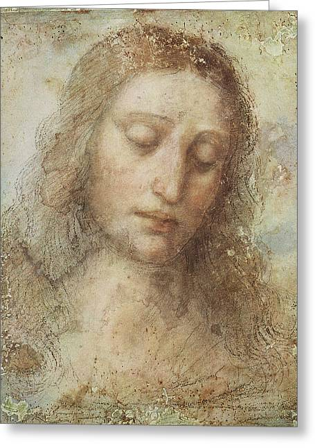 Religious Art Digital Art Greeting Cards - The Head Of Christ Greeting Card by Leonardo da Vinci