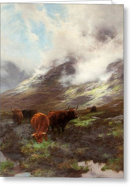Highland Cow Greeting Cards - The Head Of The Glen, 1894 Greeting Card by Peter Graham