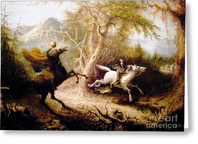 Ichabod Crane Greeting Cards - The Headless Horseman Greeting Card by Reproduction