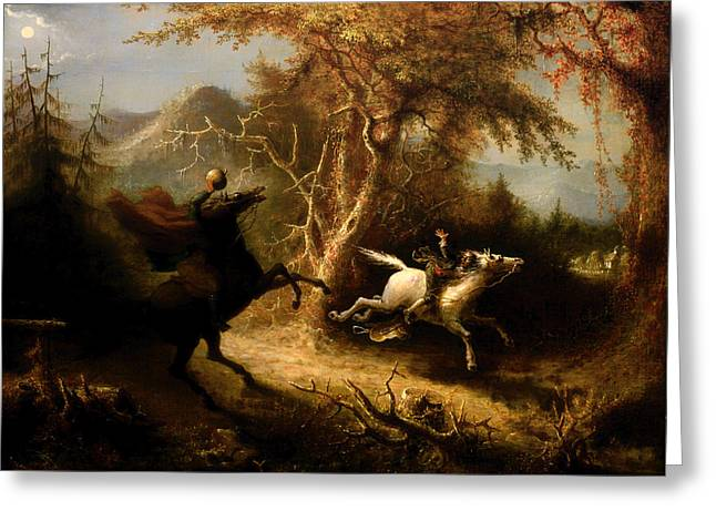 Ichabod Greeting Cards - The Headless Horsemen Pursuing Ichabod Crane Greeting Card by John Quidor